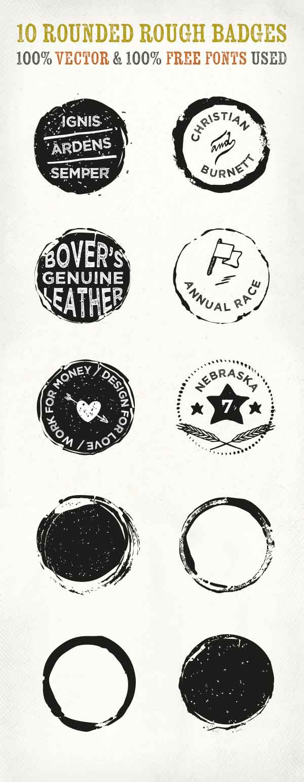 10 Free Rounded Rough Vector Badges