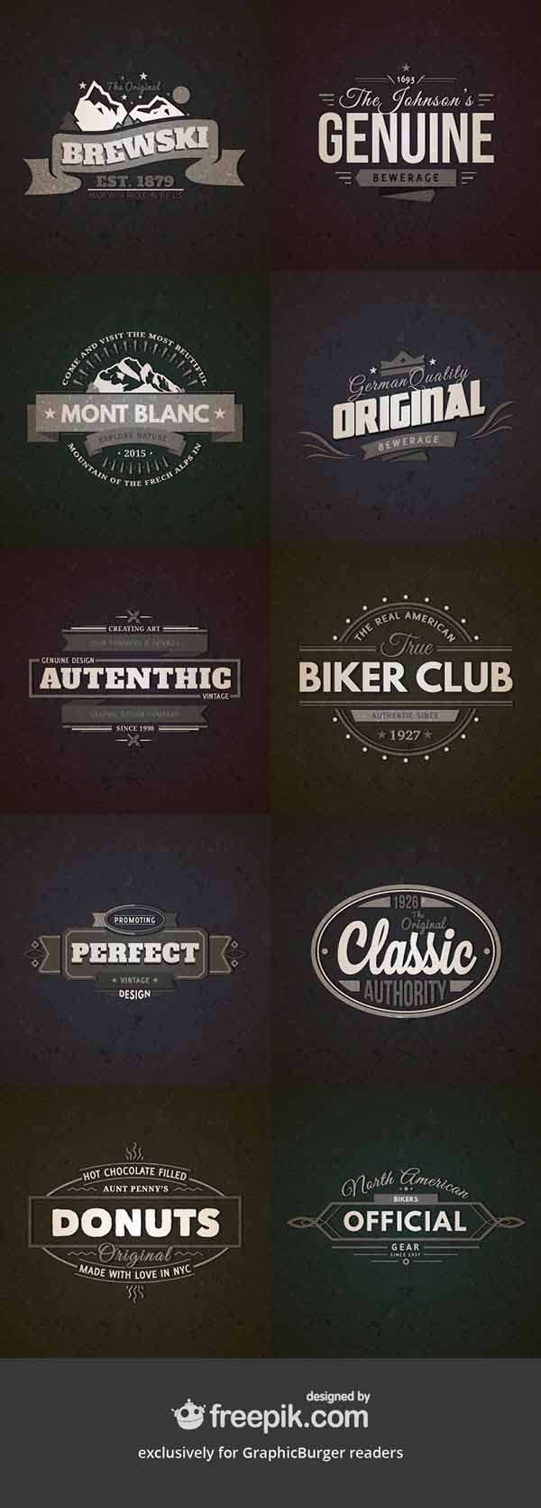 10 Free Vector Retro Vintage Badges