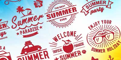16 Free Summer Vector Logos with Vector Background