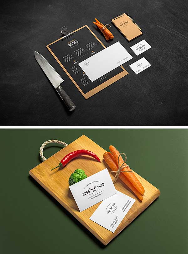 Free 2 PSD Restaurant And Bar MockUps