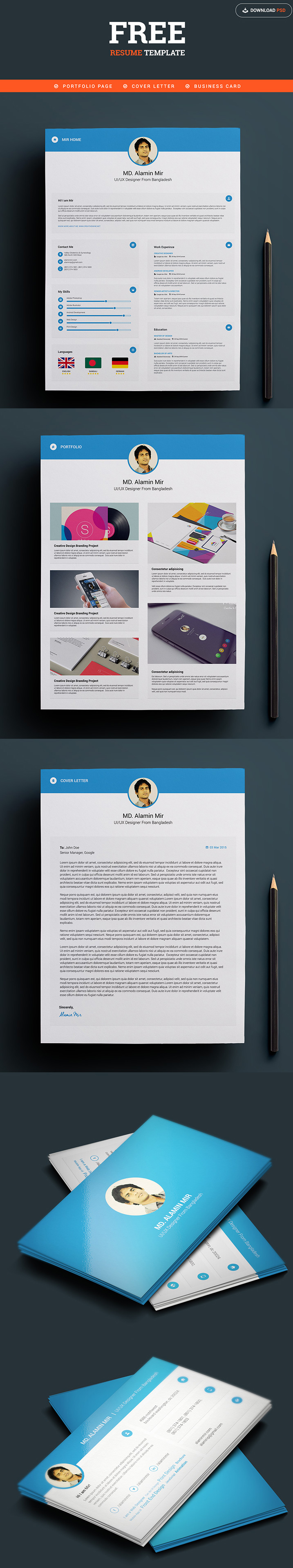 Free Designer Resume and Business Card Template