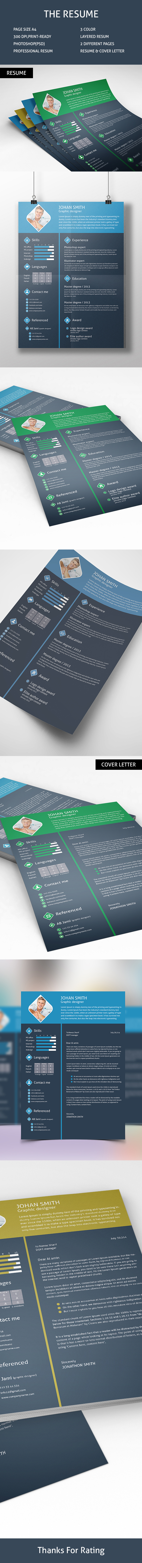 Free Flat Psd Resume with Cover Letter