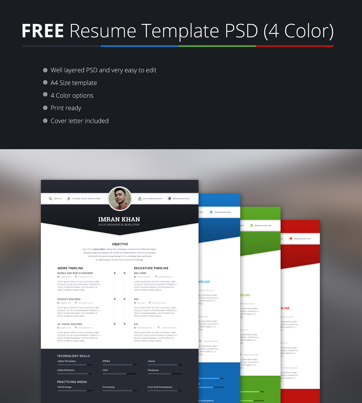 free psd resume template in four colors