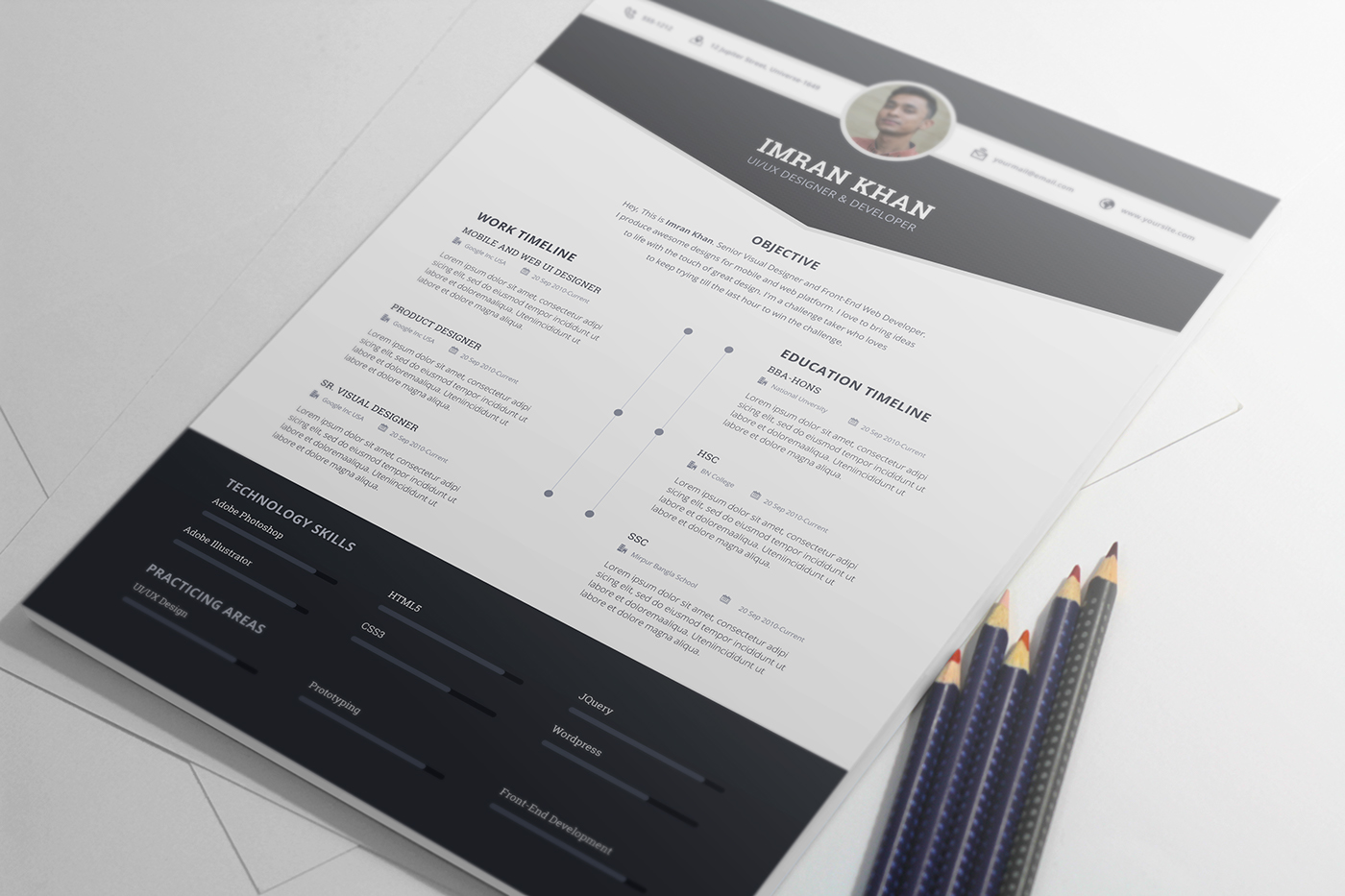 Free Psd Resume Template in Four Colors-2
