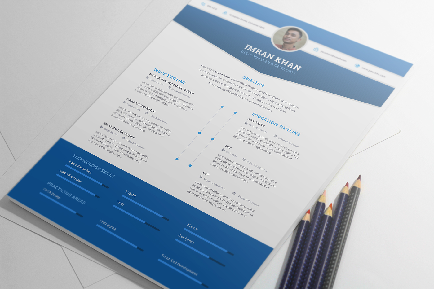 Free Psd Resume Template in Four Colors-3