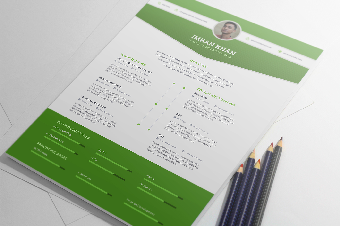 Free Psd Resume Template in Four Colors-4