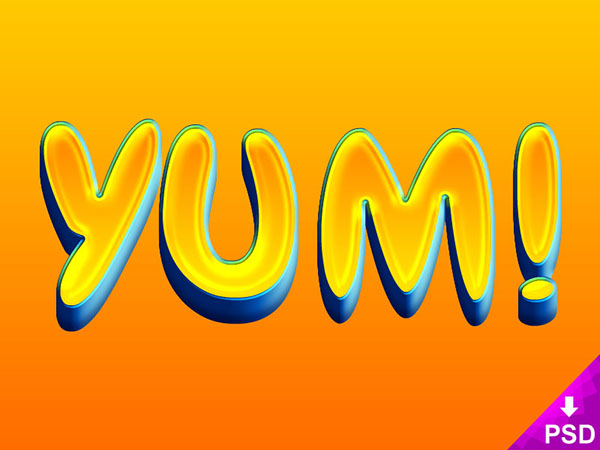 Free Yum! Text Layer Style Psd