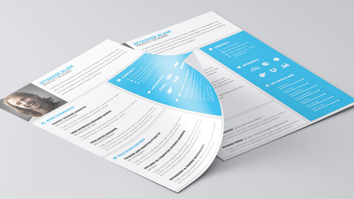 Material Style Professional CV-Resume With Cover Letter Template-2