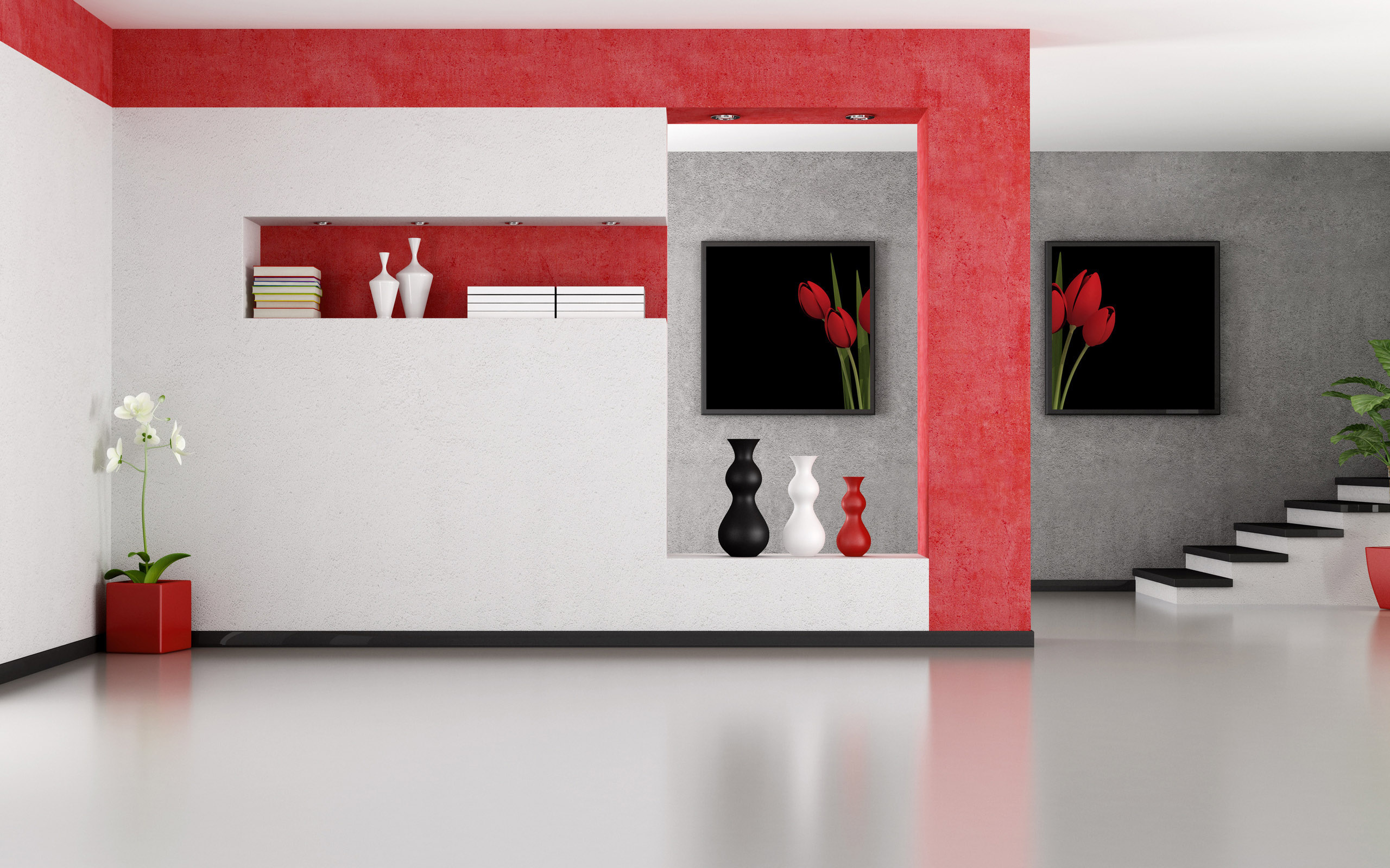Minimalist-Red-And-White-Interior-Design-Wallpaper