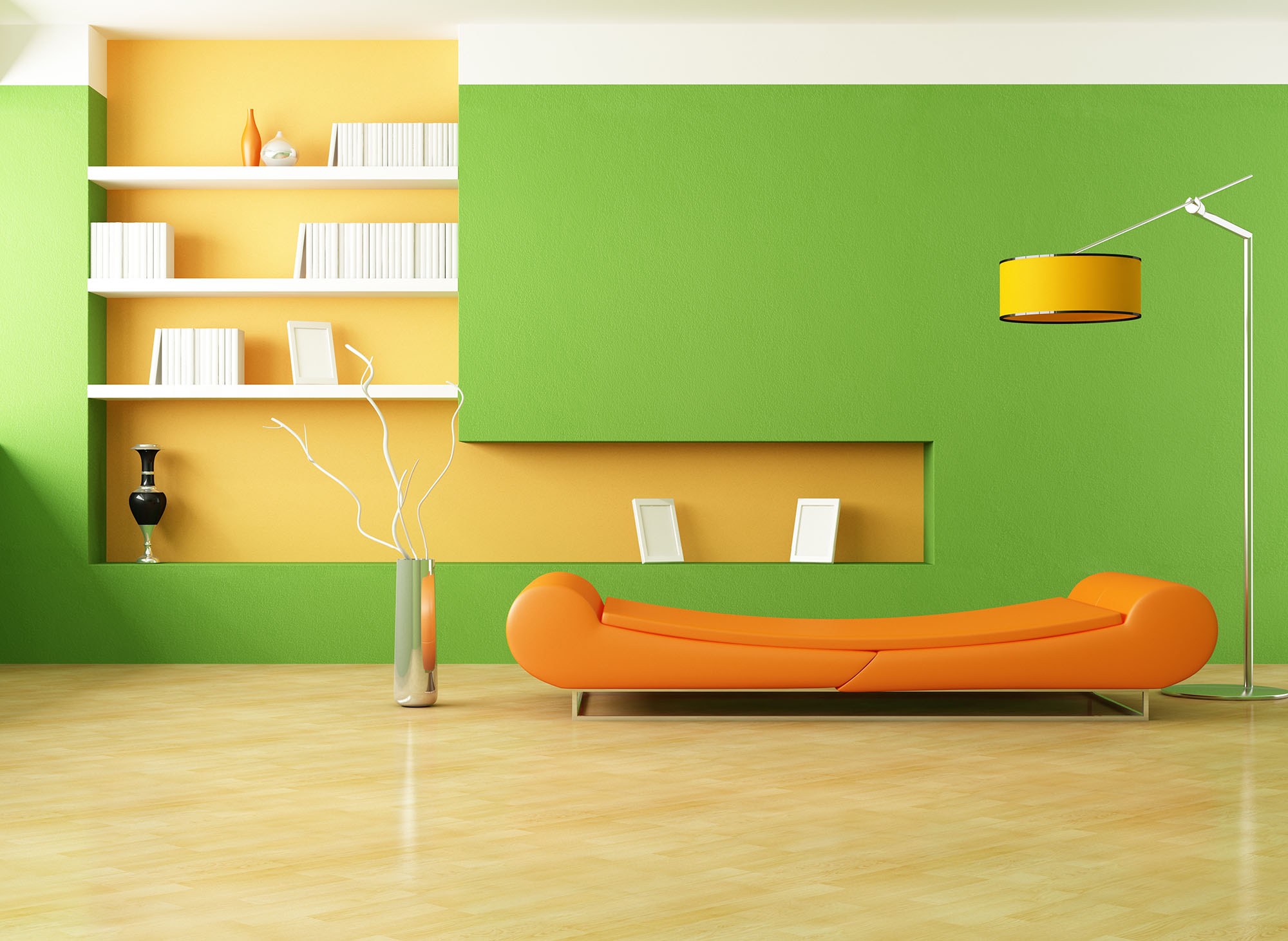 interior-awesome-minimalist-living-room-design-with-beautiful-green-and-cream-wall-paint-themed-together-with-cool-white-bookshelf-attached-to-the-wall-and-unique-orange-sectional-fabric-sofa-near-amu