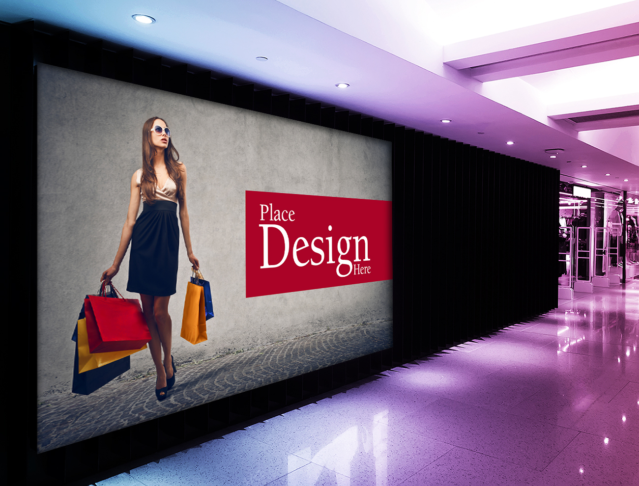 Free Shopping Mall Billboard Mockup
