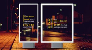 Free Street Banner and Booth Mockup For Advertisement