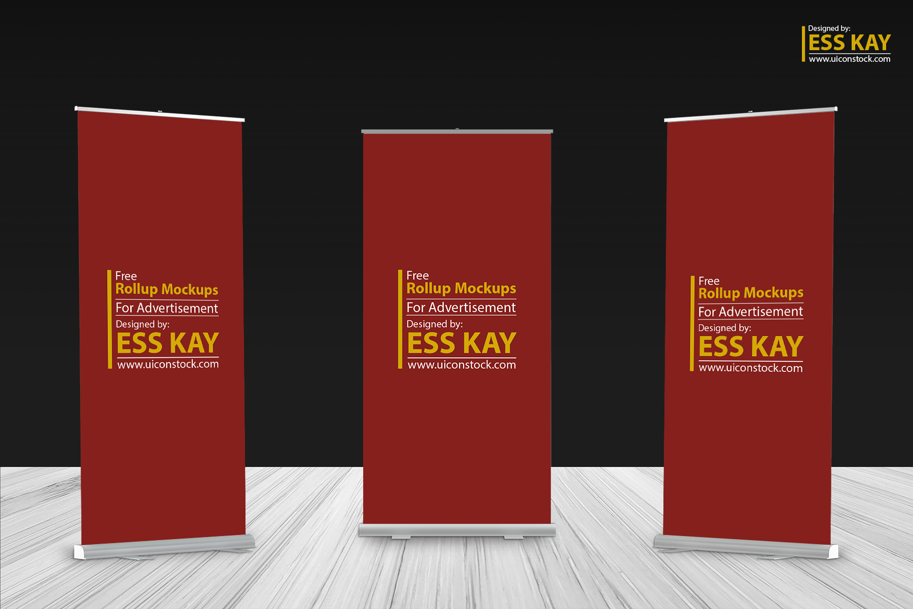 free 3 rollup mockups for advertisement