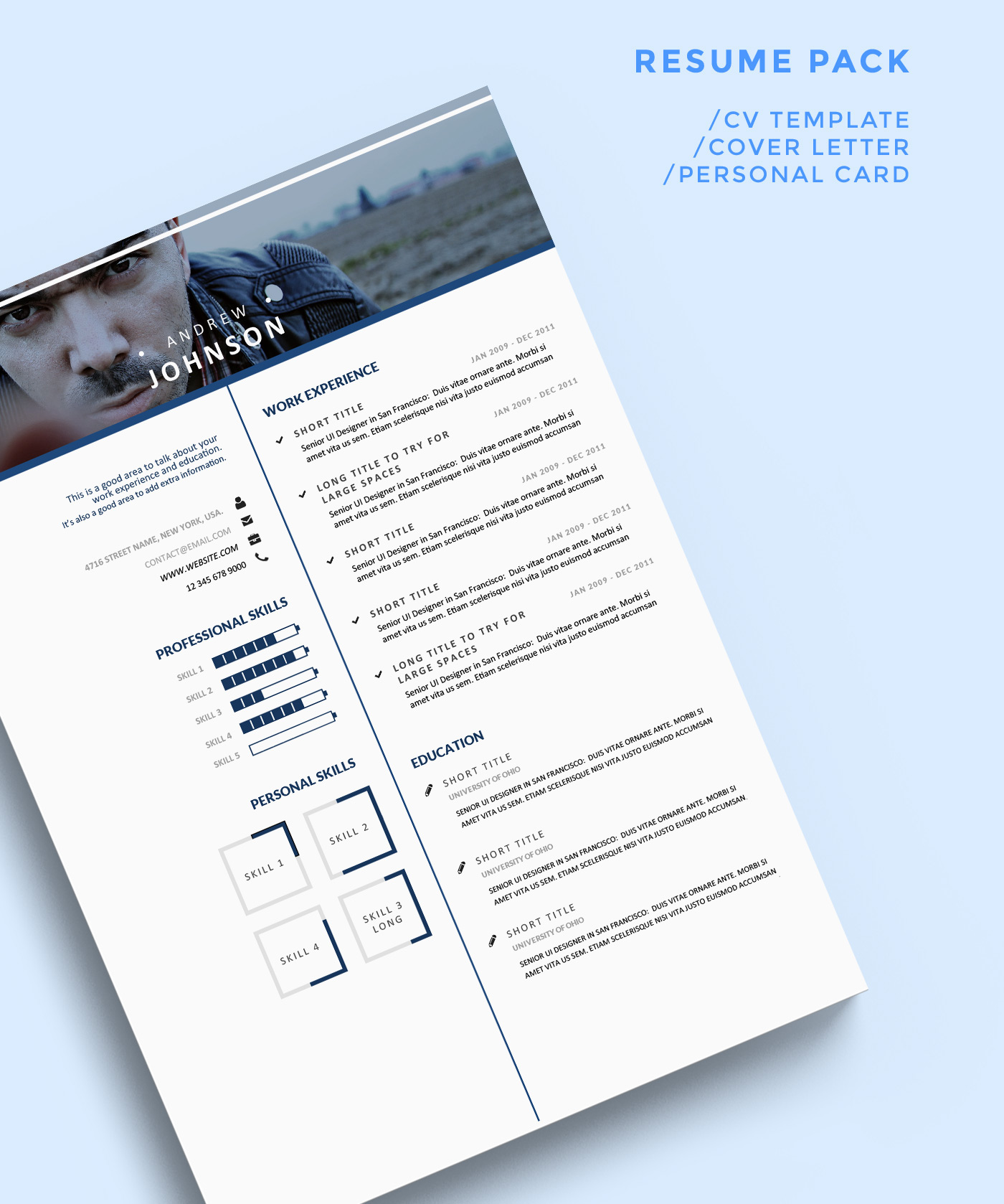 4- Free Clean Bluish Resume Template For UI Designers