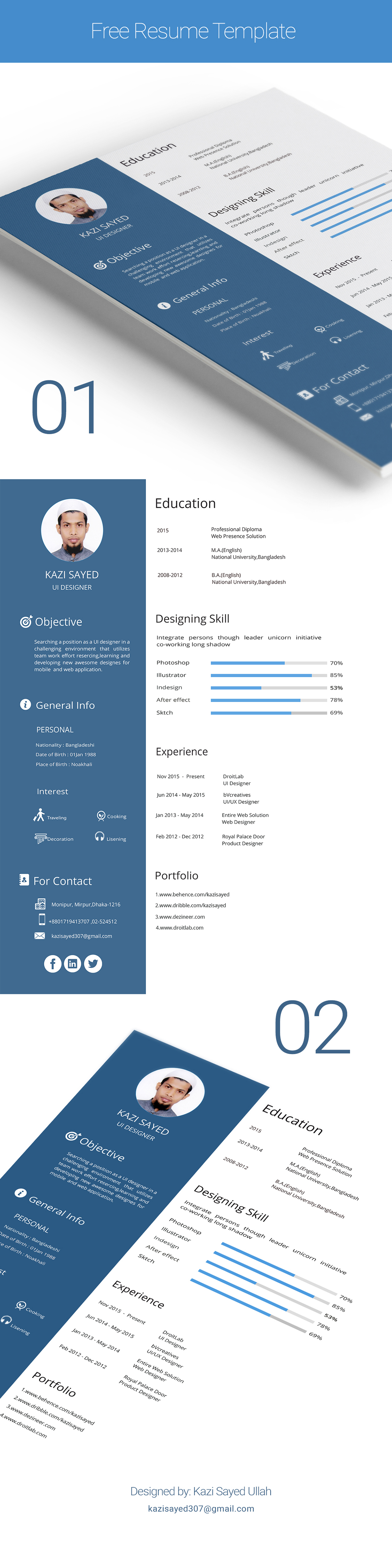 Free Clean Resume Template For UI Designers