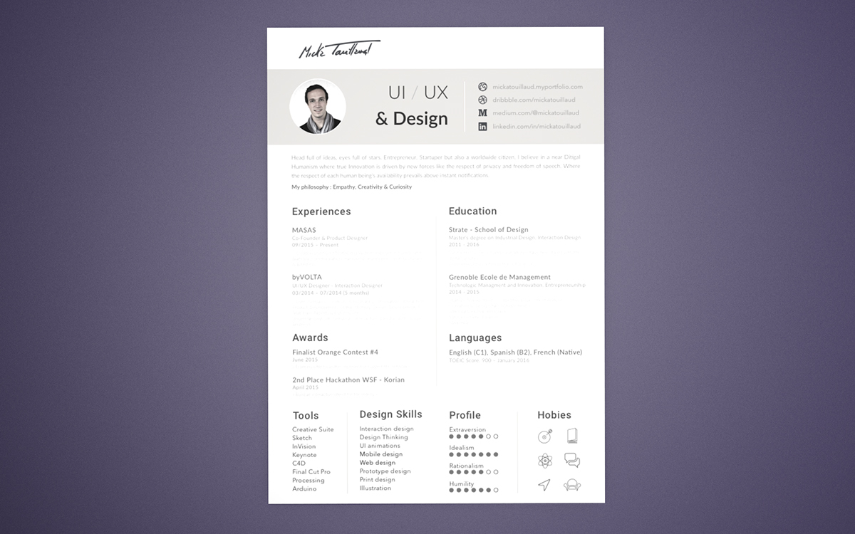 Free Clean Resume Template For UI-UX Designers