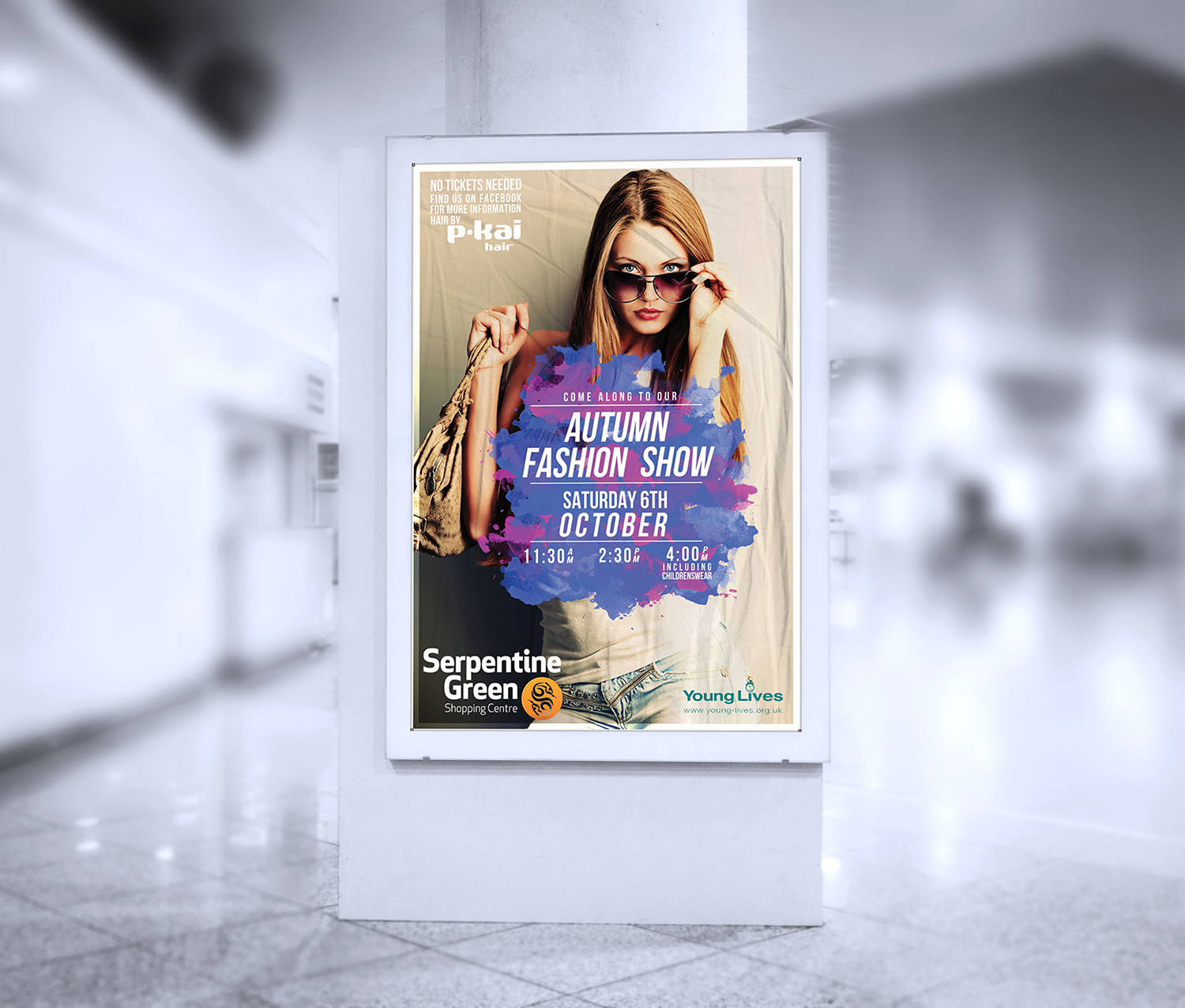 Mall Inside Poster Mockup For Advertisement