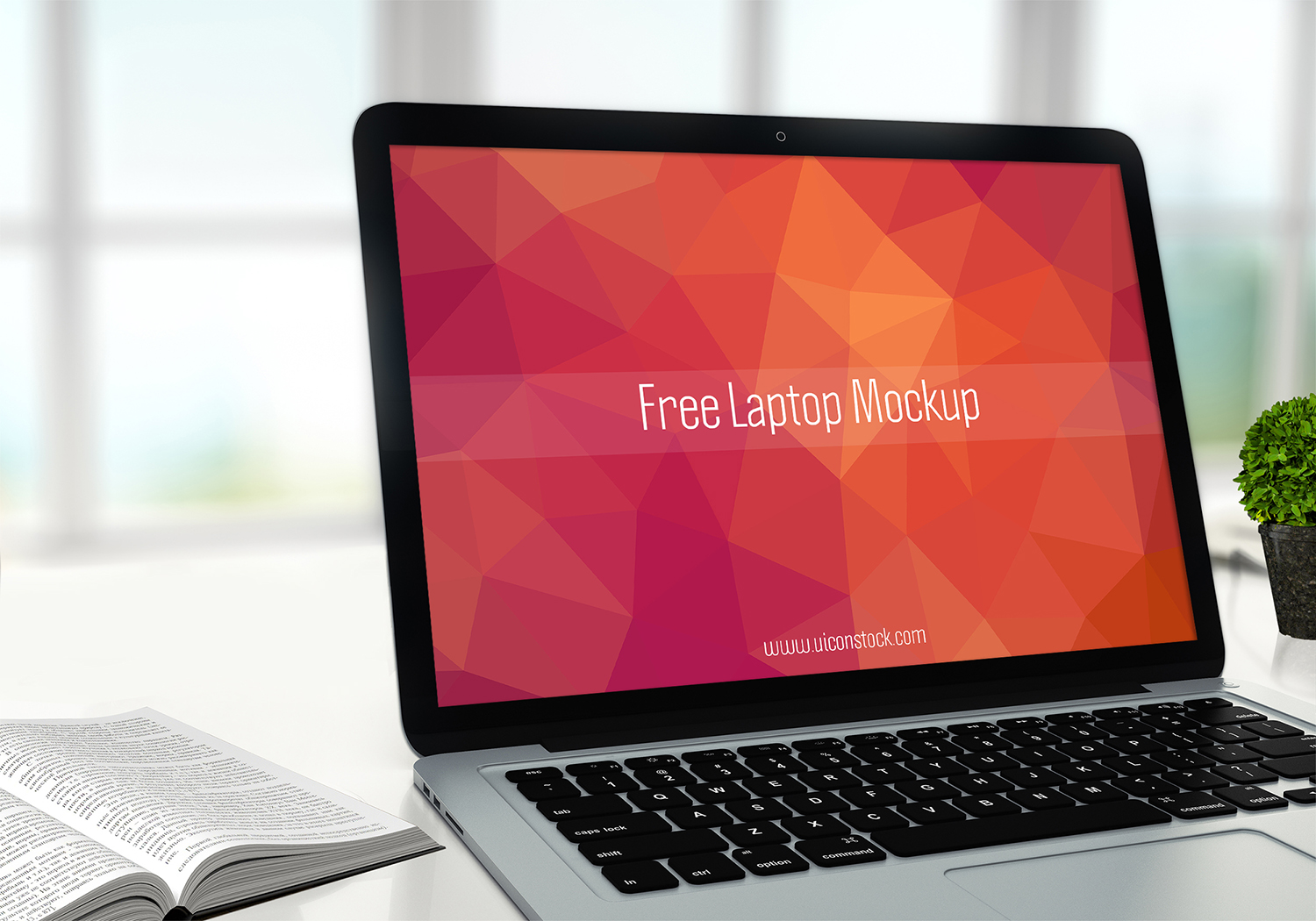 Free Laptop Mockup in Office