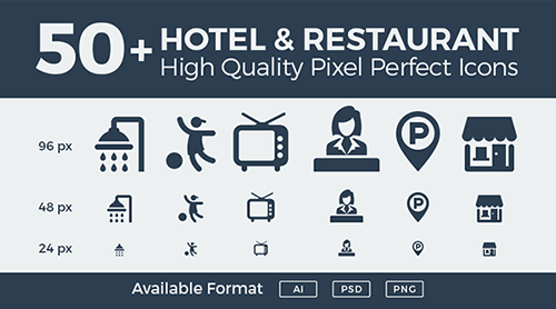 hotel-restaurant-pixel-perfect-icons