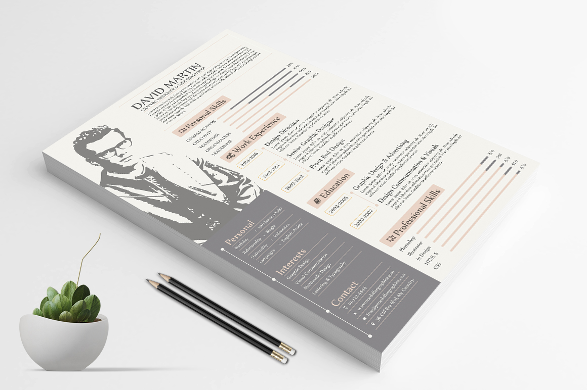 Resume Template For Graphic Designers & Web Developers