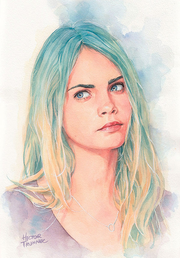 cara-delavingne-watercolor-illustration