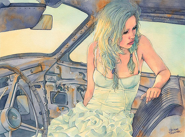 in-a-car-watercolor-illustration