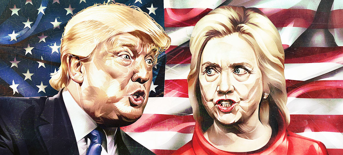 the-moscow-times-trump-hillary-clinton-illustration