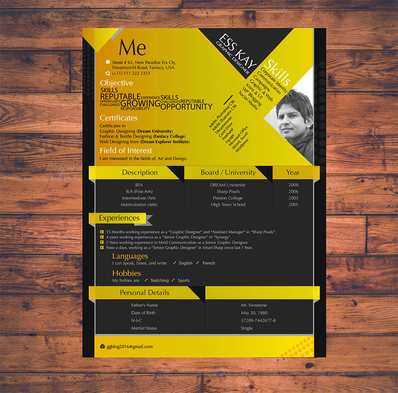 10 free simple clean resume cv templates you would love to download modern free resume template design for graphic designers yelopaper Images