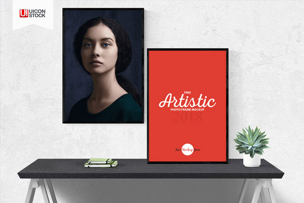 Free-Artistic-2-Photo-Frames-Mockup-2018