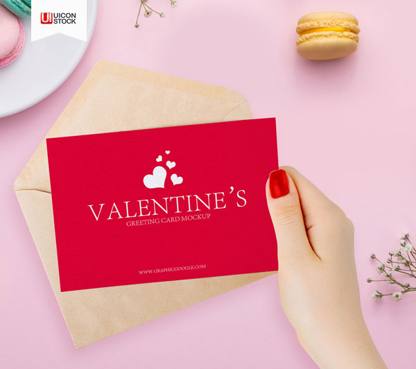 Free-Valentines-Greeting-Card-in-Girl-Hand-Mockup-2018