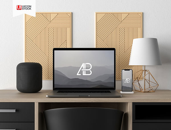 Free-Modern-Macbook-Pro-And-Iphone-X-On-Desk-Mockup-2018