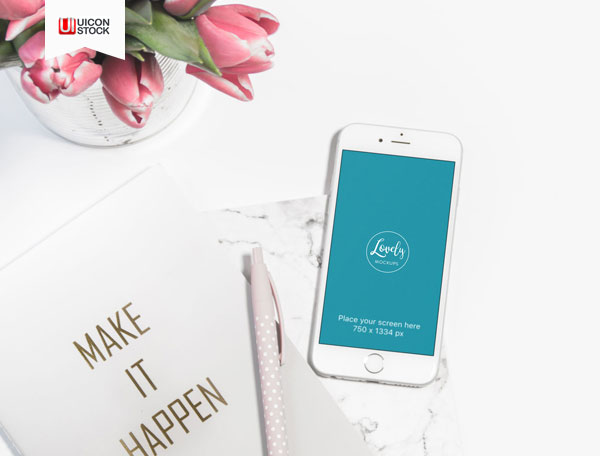Free-White-iPhone-With-Pink-Tulips-PSD-Mockup-2018