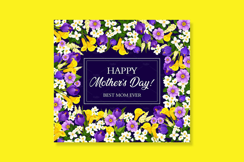 Mother-Day-Card-With-Blooming-Spring-Flower-Frame