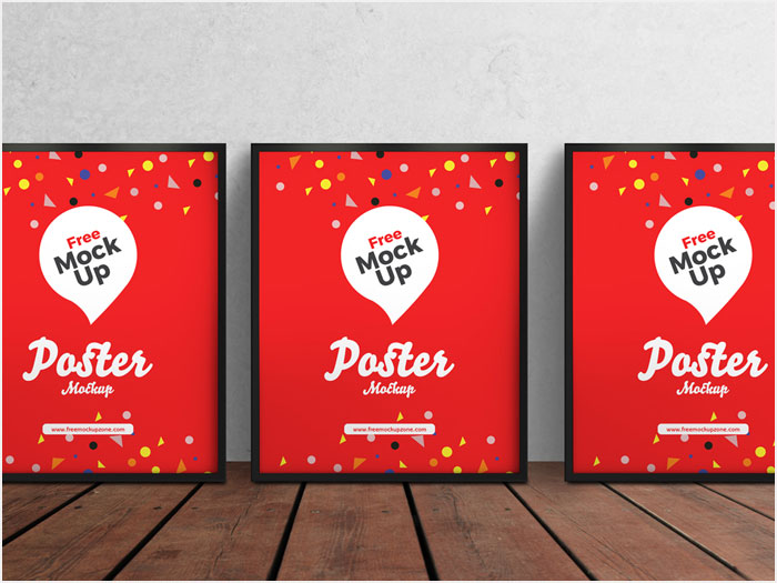 Free-3-PSD-Posters-on-Wooden-Floor-Mockup