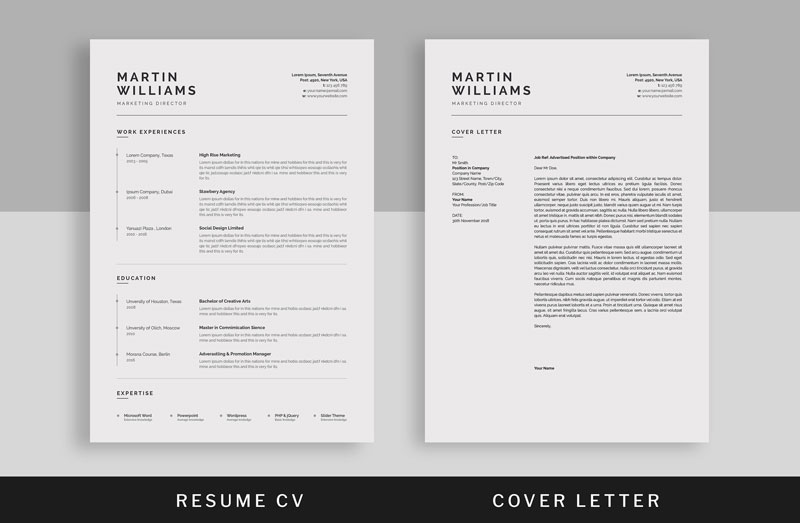 Minimal-Resume-CV-Template-With-Cover-Letter