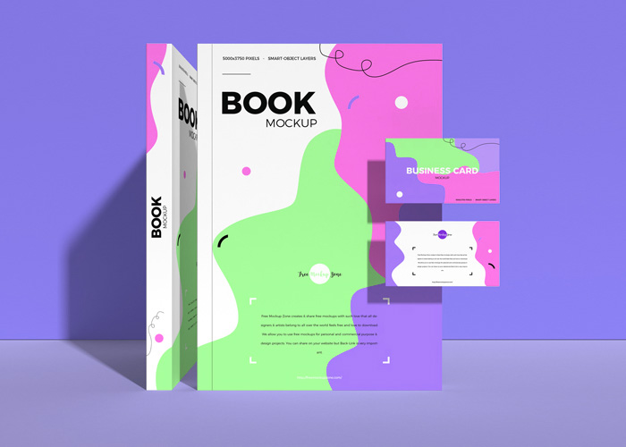 Free-Book-With-Business-Card-Mockup