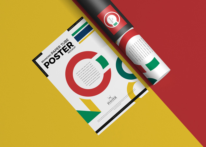 Free-Paper-Tube-With-Poster-Mockup