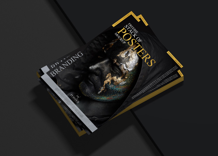 Free-Stack-of-Posters-Mockup