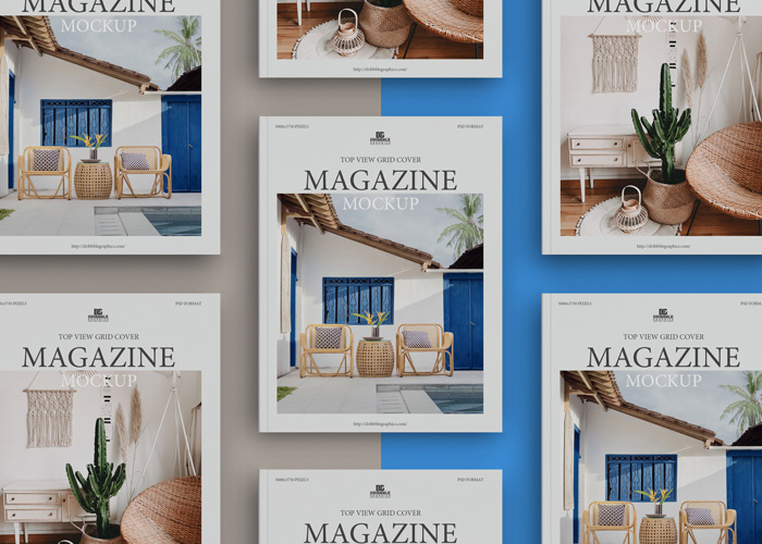 Free-Top-View-Grid-Magazine-Mockup