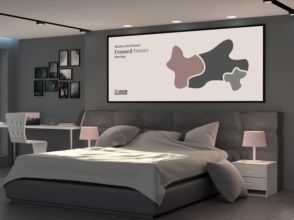 Free-Modern-Bed-Room-Framed-Poster-Mockup