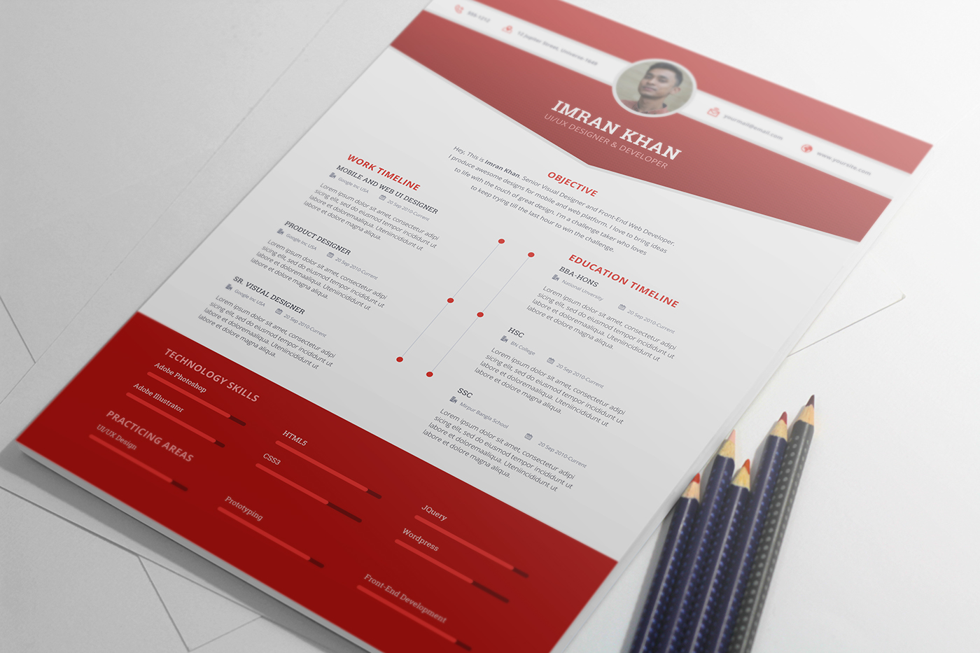 psd resume templates free psd resume template in four colors 24164